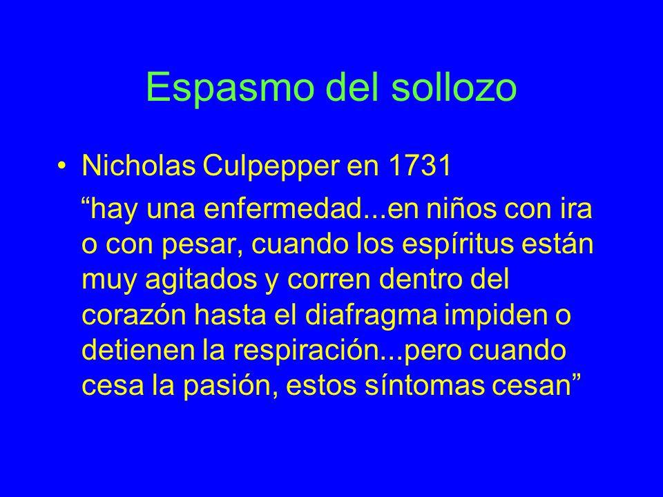 Espasmo del sollozo Nicholas Culpepper en 1731 hay una enfermedad...en niños con ira o con pesar, cuando los espíritus están muy agitados y corren den
