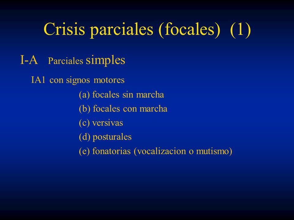 Crisis parciales (focales) (1) I-A Parciales simples IA1con signos motores (a) focales sin marcha (b) focales con marcha (c) versivas (d) posturales (