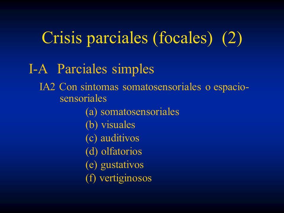 Crisis parciales (focales) (2) I-AParciales simples IA2 Con sintomas somatosensoriales o espacio- sensoriales (a) somatosensoriales (b) visuales (c) a