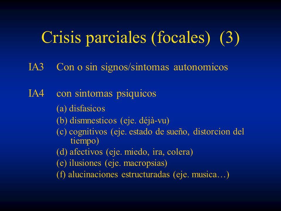 Crisis parciales (focales) (3) IA3Con o sin signos/sintomas autonomicos IA4con sintomas psiquicos (a) disfasicos (b) dismnesticos (eje. déjà-vu) (c) c