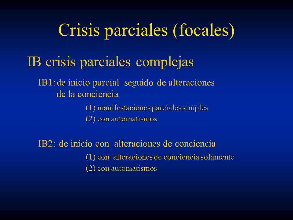 Crisis parciales (focales) IB crisis parciales complejas IB1:de inicio parcial seguido de alteraciones de la conciencia (1) manifestaciones parciales