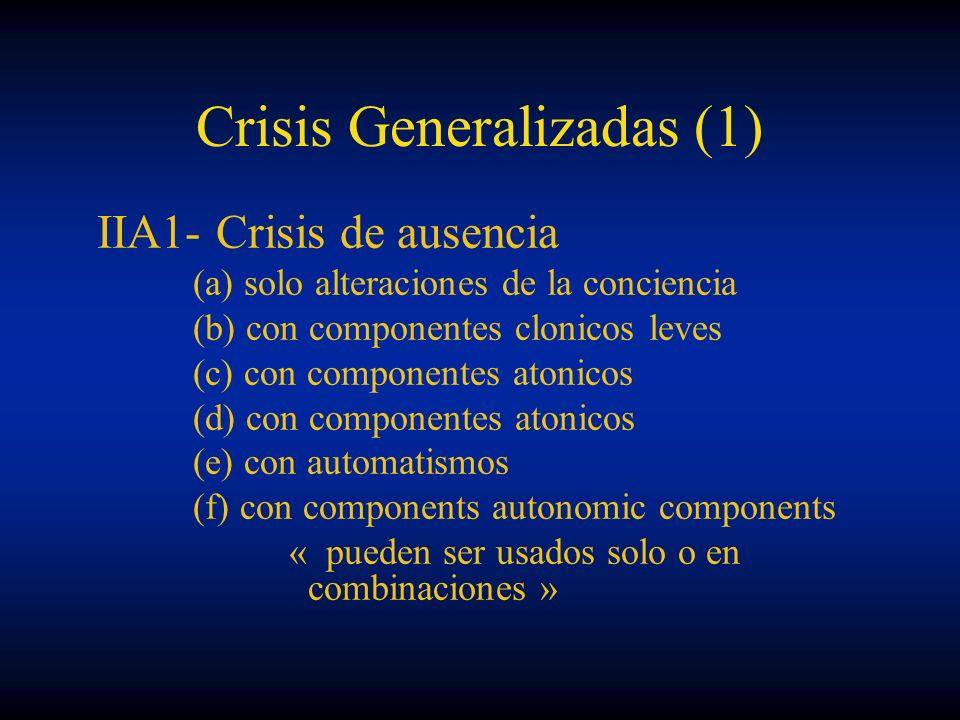 Crisis Generalizadas (1) IIA1- Crisis de ausencia (a) solo alteraciones de la conciencia (b) con componentes clonicos leves (c) con componentes atonic
