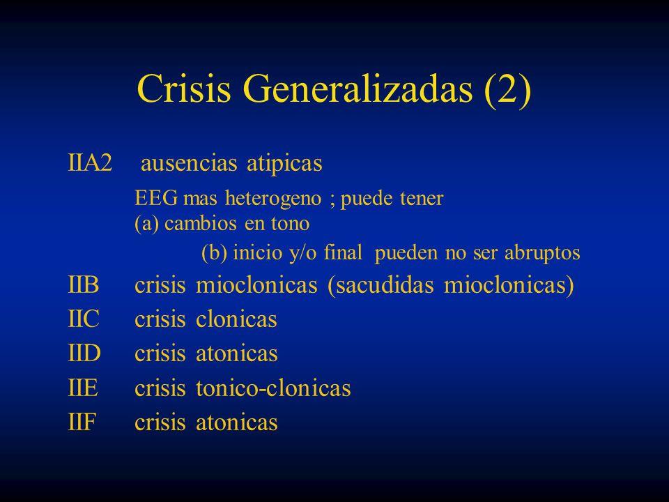 Crisis Generalizadas (2) IIA2 ausencias atipicas EEG mas heterogeno ; puede tener (a) cambios en tono (b) inicio y/o final pueden no ser abruptos IIBc
