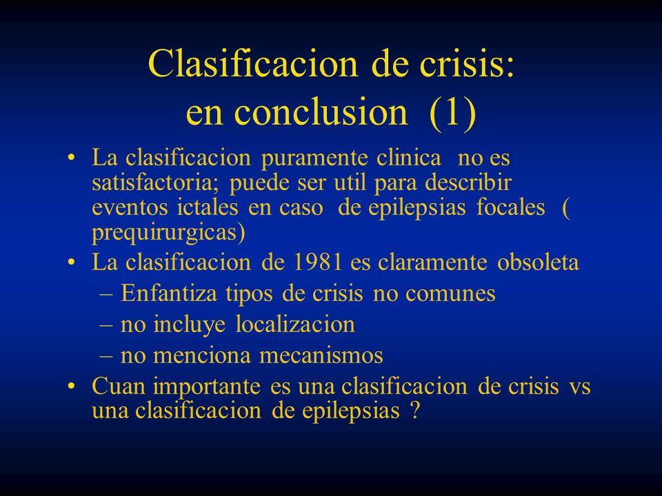 Clasificacion de crisis: en conclusion (1) La clasificacion puramente clinica no es satisfactoria; puede ser util para describir eventos ictales en ca
