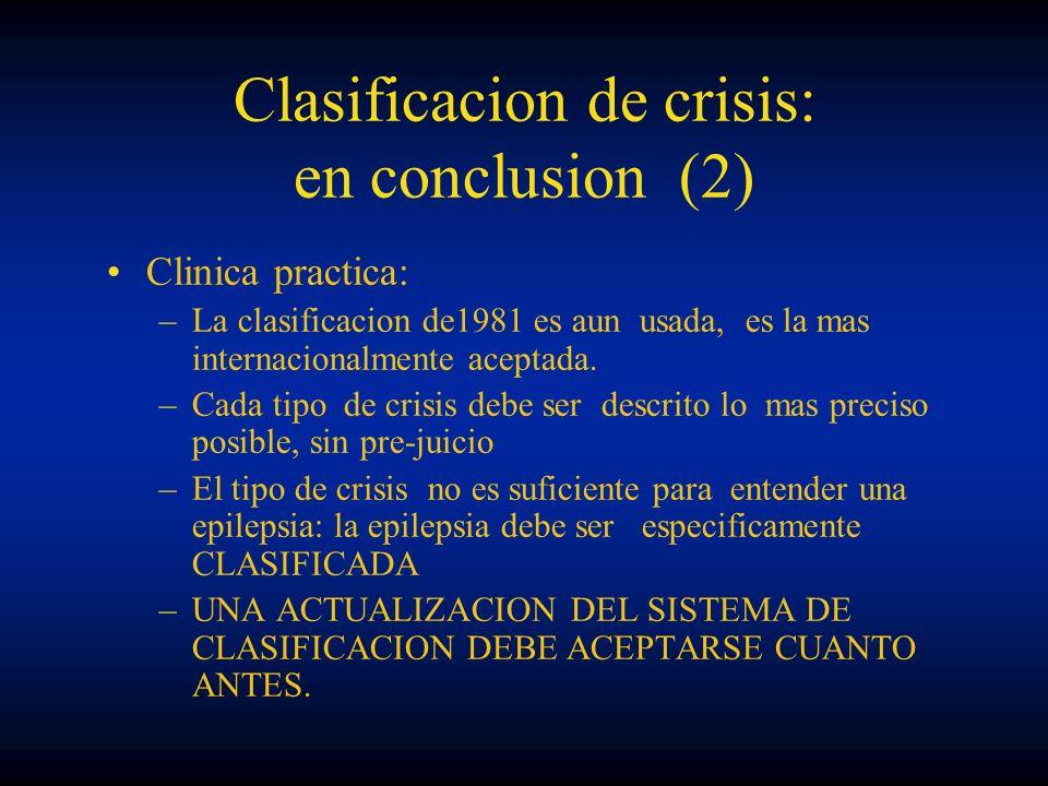 Clasificacion de crisis: en conclusion (2) Clinica practica: –La clasificacion de1981 es aun usada, es la mas internacionalmente aceptada. –Cada tipo