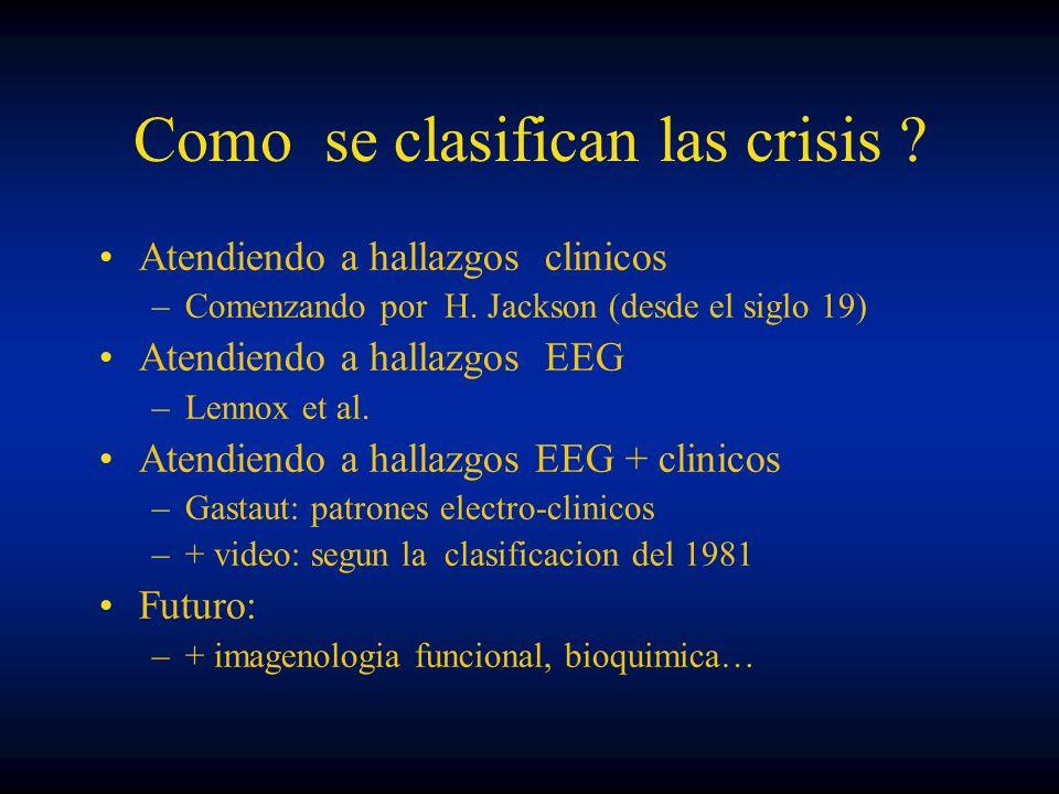 Como se clasifican las crisis ? Atendiendo a hallazgos clinicos –Comenzando por H. Jackson (desde el siglo 19) Atendiendo a hallazgos EEG –Lennox et a