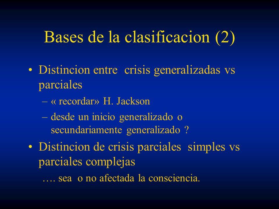 Bases de la clasificacion (2) Distincion entre crisis generalizadas vs parciales –« recordar» H. Jackson –desde un inicio generalizado o secundariamen