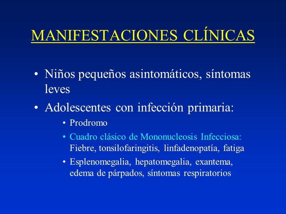 MANIFESTACIONES CLÍNICAS Niños pequeños asintomáticos, síntomas leves Adolescentes con infección primaria: Prodromo Cuadro clásico de Mononucleosis In
