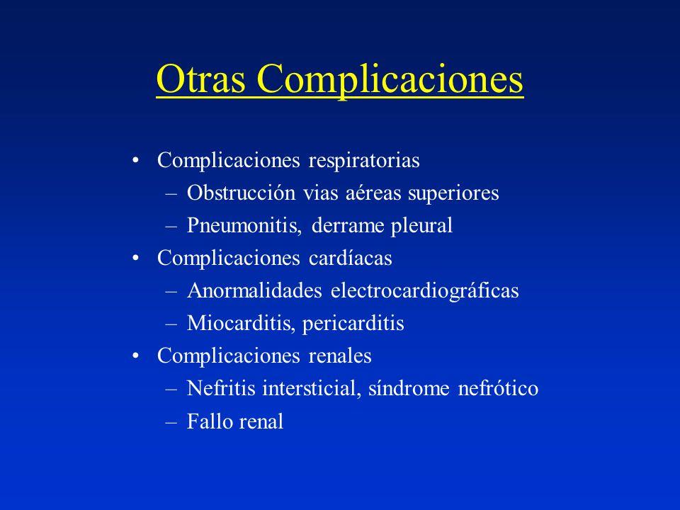 Otras Complicaciones Complicaciones respiratorias –Obstrucción vias aéreas superiores –Pneumonitis, derrame pleural Complicaciones cardíacas –Anormali