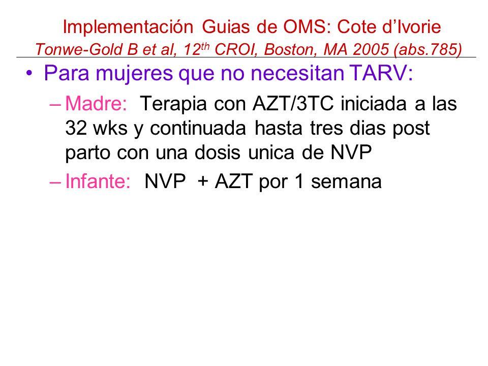 Implementación Guias de OMS: Cote dIvorie Tonwe-Gold B et al, 12 th CROI, Boston, MA 2005 (abs.785) Para mujeres que no necesitan TARV: –Madre: Terapia con AZT/3TC iniciada a las 32 wks y continuada hasta tres dias post parto con una dosis unica de NVP –Infante: NVP + AZT por 1 semana