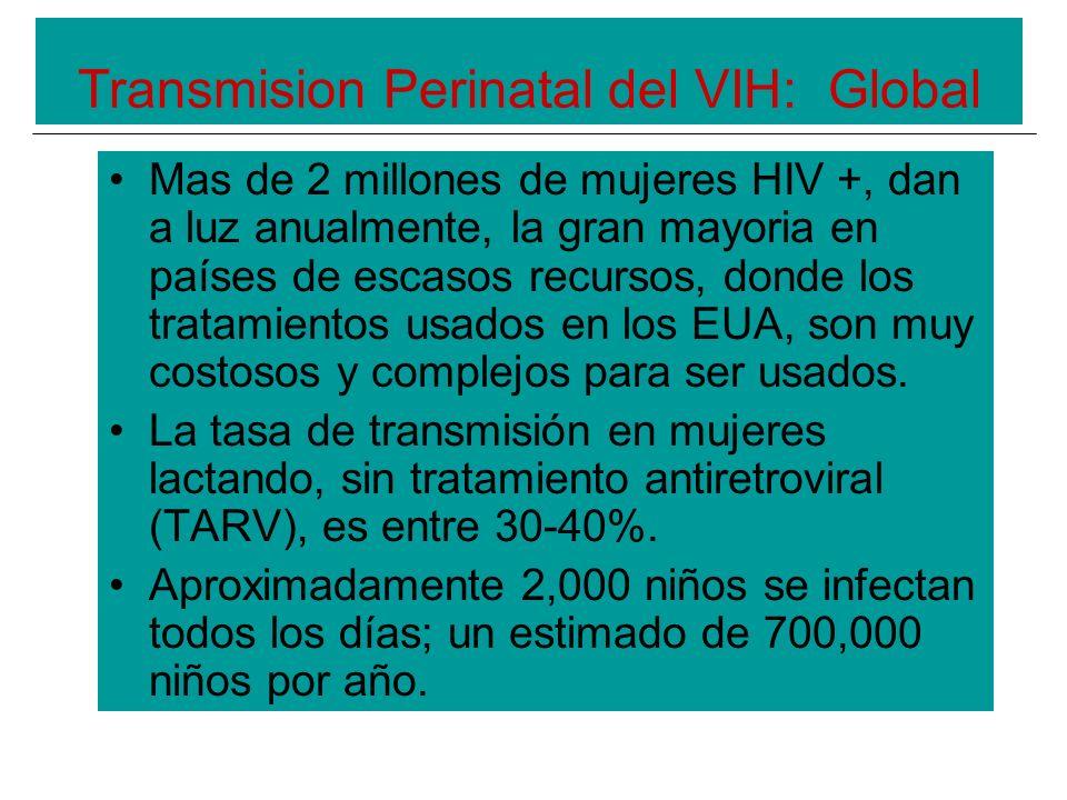 Transmision Perinatal del VIH: Global Mas de 2 millones de mujeres HIV +, dan a luz anualmente, la gran mayoria en países de escasos recursos, donde los tratamientos usados en los EUA, son muy costosos y complejos para ser usados.
