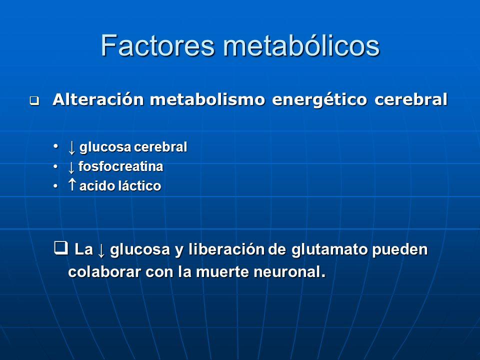 Factores metabólicos Alteración metabolismo energético cerebral Alteración metabolismo energético cerebral glucosa cerebral glucosa cerebral fosfocrea