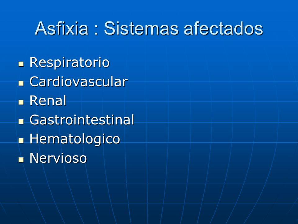 Asfixia : Sistemas afectados Respiratorio Respiratorio Cardiovascular Cardiovascular Renal Renal Gastrointestinal Gastrointestinal Hematologico Hemato