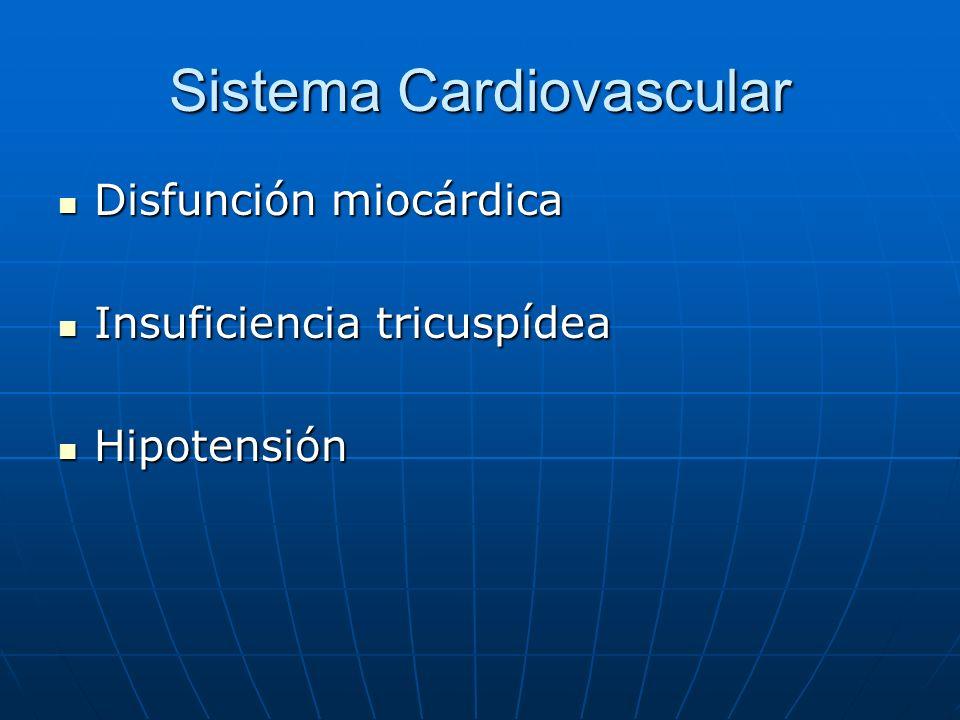 Sistema Cardiovascular Disfunción miocárdica Disfunción miocárdica Insuficiencia tricuspídea Insuficiencia tricuspídea Hipotensión Hipotensión