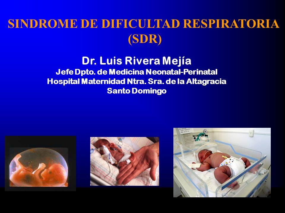 Dr. Luis Rivera Mejía Jefe Dpto. de Medicina Neonatal-Perinatal Hospital Maternidad Ntra. Sra. de la Altagracia Santo Domingo SINDROME DE DIFICULTAD R