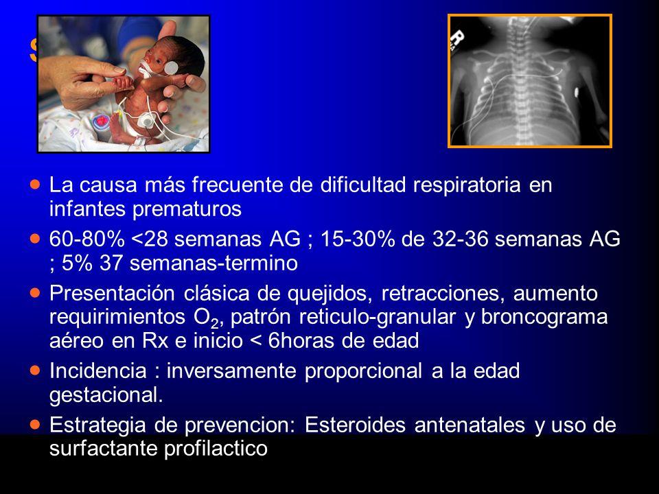 SDR La causa más frecuente de dificultad respiratoria en infantes prematuros 60-80% <28 semanas AG ; 15-30% de 32-36 semanas AG ; 5% 37 semanas-termino Presentación clásica de quejidos, retracciones, aumento requirimientos O 2, patrón reticulo-granular y broncograma aéreo en Rx e inicio < 6horas de edad Incidencia : inversamente proporcional a la edad gestacional.