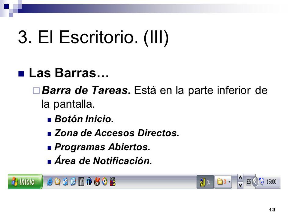 13 3. El Escritorio. (III) Las Barras… Barra de Tareas. Está en la parte inferior de la pantalla. Botón Inicio. Zona de Accesos Directos. Programas Ab