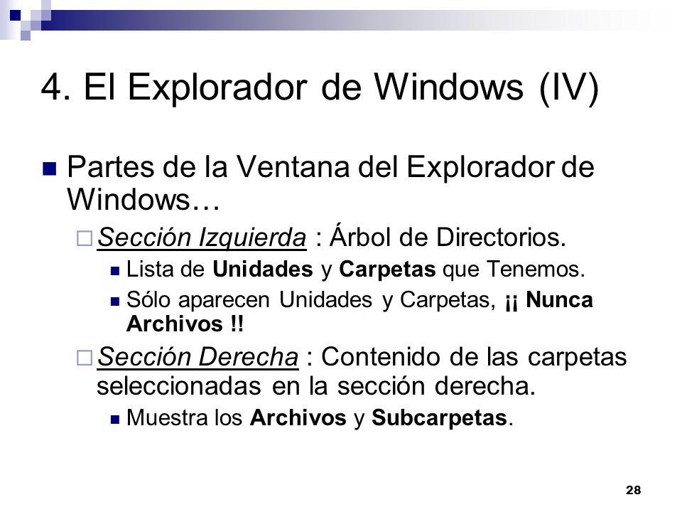 28 4. El Explorador de Windows (IV) Partes de la Ventana del Explorador de Windows… Sección Izquierda : Árbol de Directorios. Lista de Unidades y Carp