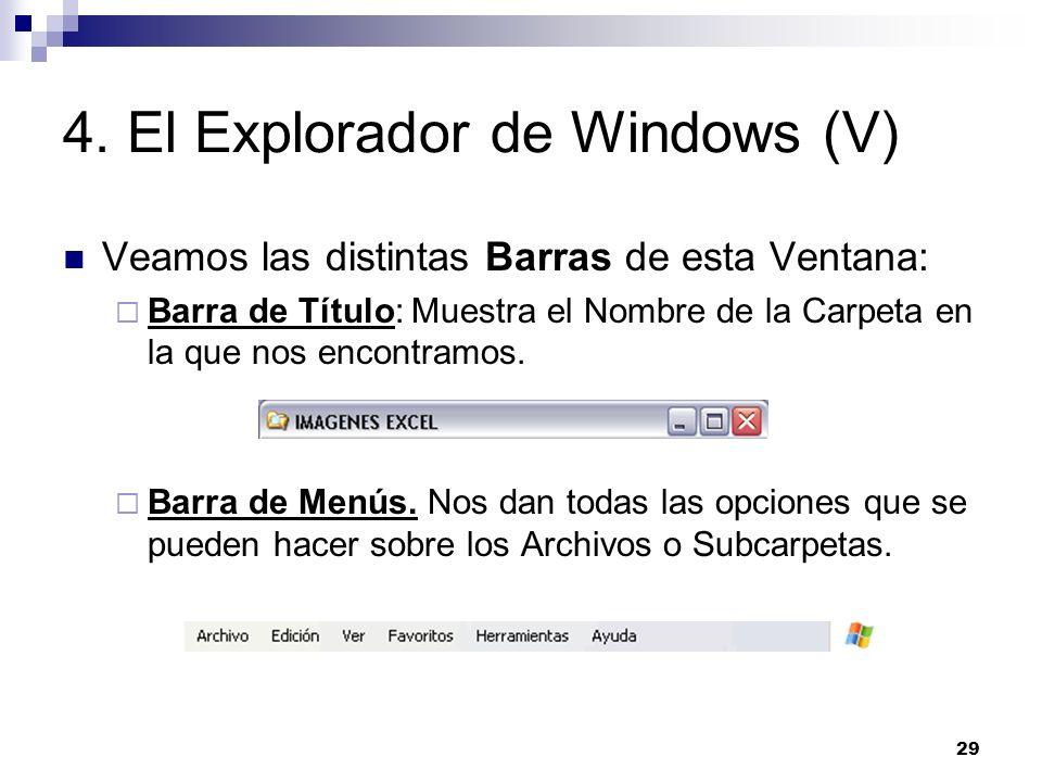 29 4. El Explorador de Windows (V) Veamos las distintas Barras de esta Ventana: Barra de Título: Muestra el Nombre de la Carpeta en la que nos encontr