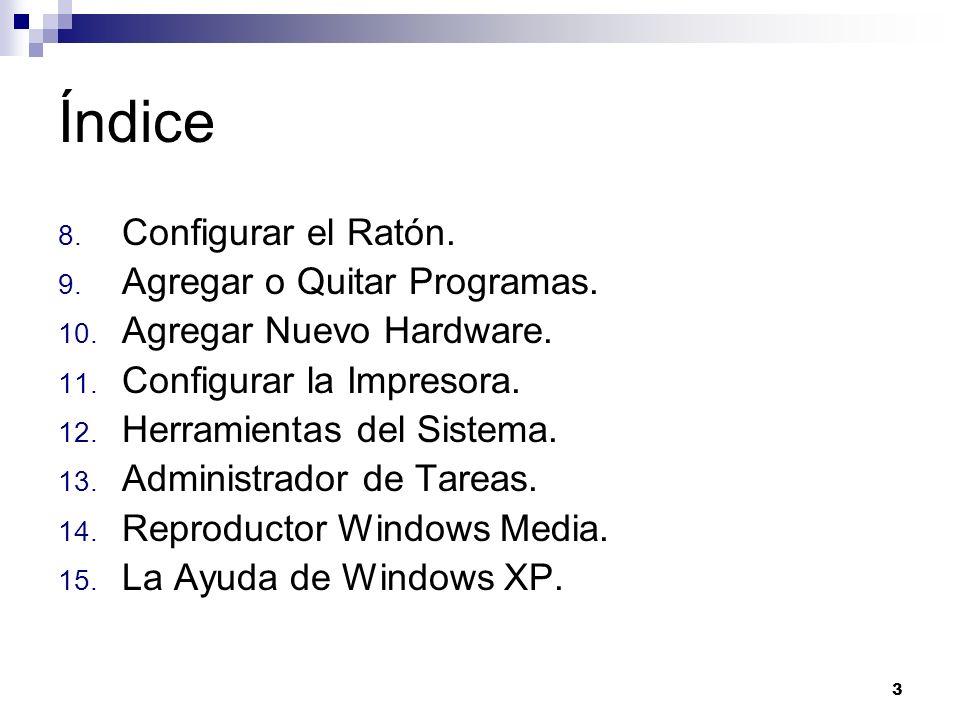 3 Índice 8. Configurar el Ratón. 9. Agregar o Quitar Programas. 10. Agregar Nuevo Hardware. 11. Configurar la Impresora. 12. Herramientas del Sistema.