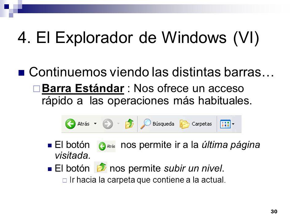 30 4. El Explorador de Windows (VI) Continuemos viendo las distintas barras… Barra Estándar : Nos ofrece un acceso rápido a las operaciones más habitu