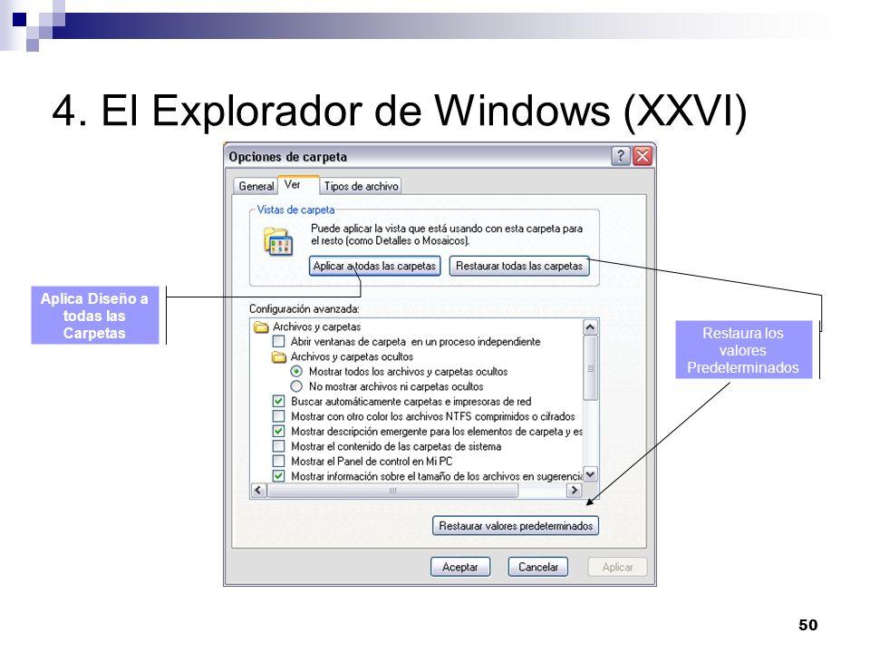50 4. El Explorador de Windows (XXVI) Aplica Diseño a todas las Carpetas Restaura los valores Predeterminados