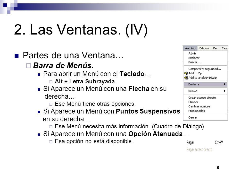 9 2.Las Ventanas. (V) Partes de una Ventana… Barra de Herramientas.