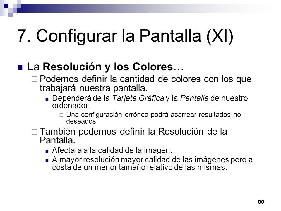 80 7. Configurar la Pantalla (XI) La Resolución y los Colores… Podemos definir la cantidad de colores con los que trabajará nuestra pantalla. Depender