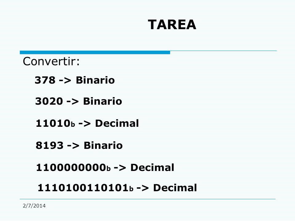 2/7/2014 TAREA Convertir: 378 -> Binario 3020 -> Binario 11010 b -> Decimal 8193 -> Binario 1100000000 b -> Decimal 1110100110101 b -> Decimal