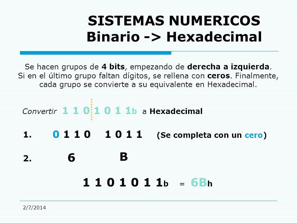 2/7/2014 SISTEMAS NUMERICOS Binario -> Hexadecimal Se hacen grupos de 4 bits, empezando de derecha a izquierda.