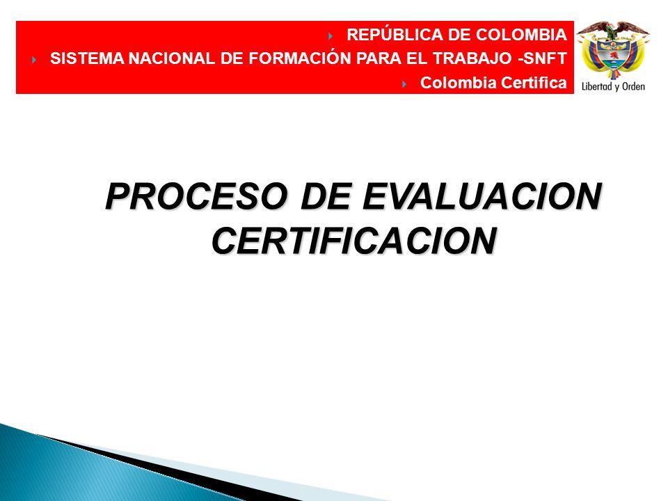 DIRECCIÓN GENERAL REPÚBLICA DE COLOMBIA SISTEMA NACIONAL DE FORMACIÓN PARA EL TRABAJO -SNFT Colombia Certifica PROCESO DE EVALUACION CERTIFICACION