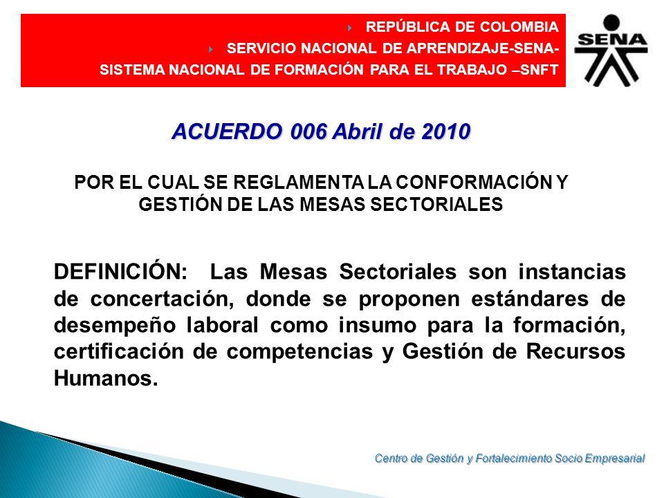 DIRECCIÓN GENERAL ACUERDO 006 Abril de 2010 POR EL CUAL SE REGLAMENTA LA CONFORMACIÓN Y GESTIÓN DE LAS MESAS SECTORIALES DEFINICIÓN: Las Mesas Sectori