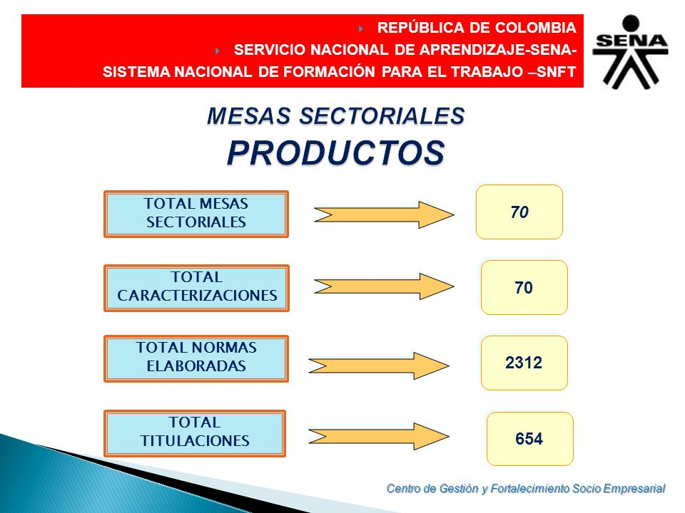 DIRECCIÓN GENERAL CARACTERIZACION OCUPACIONAL CARACTERIZACION OCUPACIONAL ANALISIS FUNCIONAL ANALISIS FUNCIONAL AREAS CLAVES AREAS CLAVES TITULACIONES NORMAS DE COMPETENCIAS NORMAS DE COMPETENCIASLABORAL REPÚBLICA DE COLOMBIA SERVICIO NACIONAL DE APRENDIZAJE-SENA- SISTEMA NACIONAL DE FORMACIÓN PARA EL TRABAJO –SNFT Centro de Gestión y Fortalecimiento Socio Empresarial