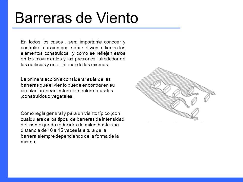 Barreras de Viento En todos los casos, sera importante conocer y controlar la accion que sobre el viento tienen los elementos construidos y como se re