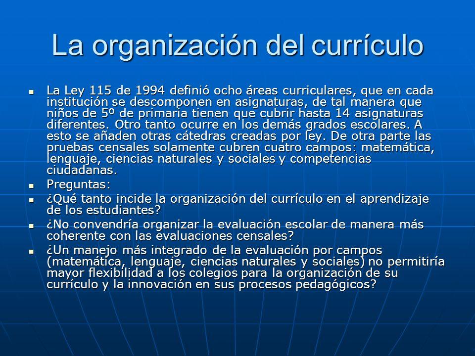 La organización del currículo La Ley 115 de 1994 definió ocho áreas curriculares, que en cada institución se descomponen en asignaturas, de tal manera