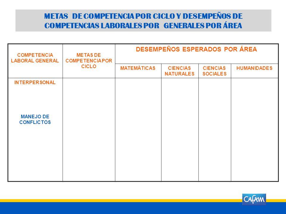 COMPETENCIA CONCEPTO DE LA COMPETENCIA META GENERAL DE LA COMPETENCIA METAS DE COMPETENCIA POR CICLO 0º - 3º4º - 5º6º - 7º8º - 9º10º - 11º INTERPERSON