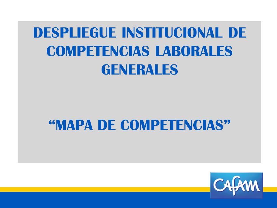 DESPLIEGUE INSTITUCIONAL DE COMPETENCIAS LABORALES GENERALES MAPA DE COMPETENCIAS