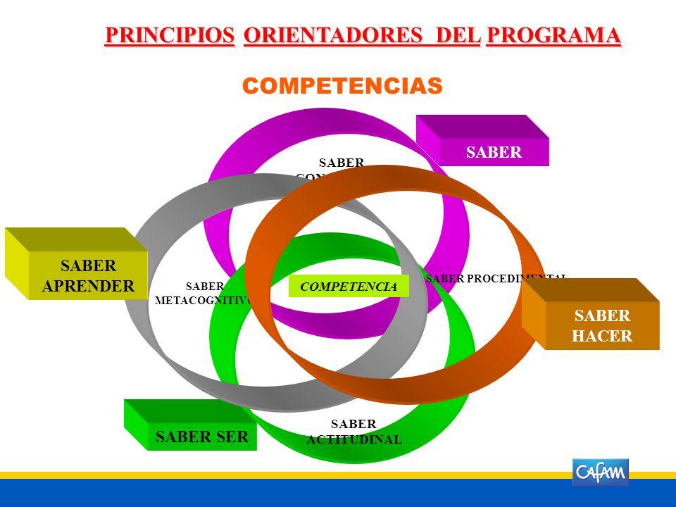 PRINCIPIOS ORIENTADORES DEL PROGRAMA COMPETENCIAS SABER CONCEPTUAL SABER SABER ACTITUDINAL SABER SER SABER METACOGNITIVO SABER APRENDER COMPETENCIA SABER PROCEDIMENTAL SABER HACER
