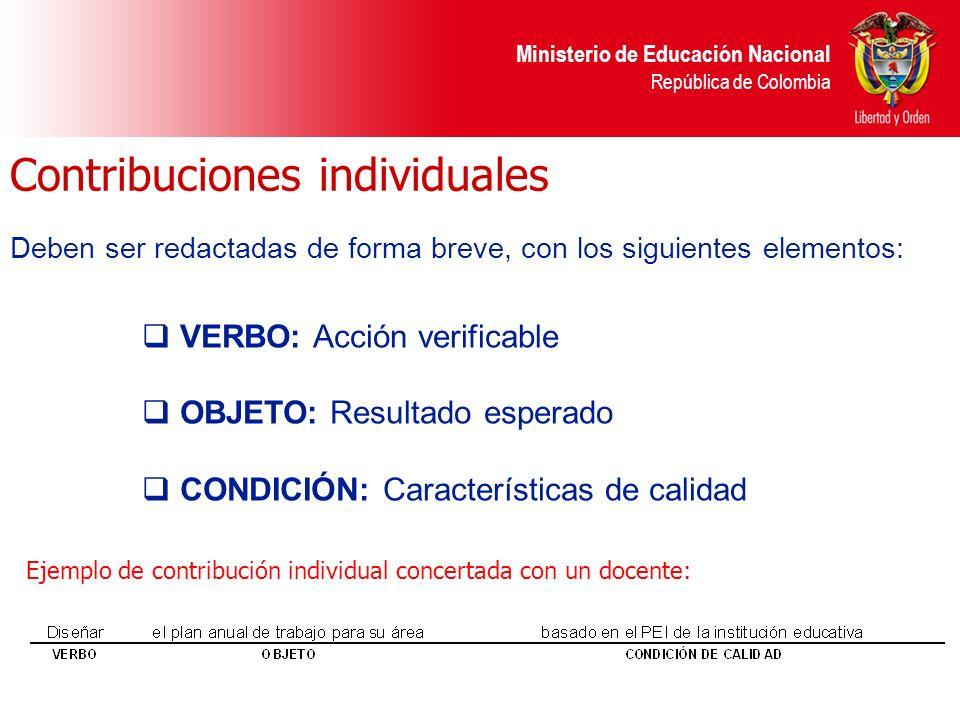 Ministerio de Educación Nacional República de Colombia Contribuciones individuales VERBO: Acción verificable OBJETO: Resultado esperado CONDICIÓN: Car