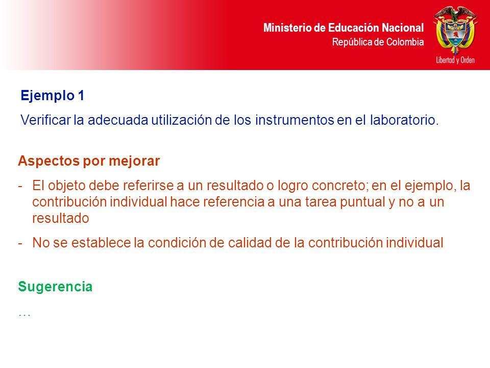 Ministerio de Educación Nacional República de Colombia Ejemplo 1 Verificar la adecuada utilización de los instrumentos en el laboratorio. Sugerencia …