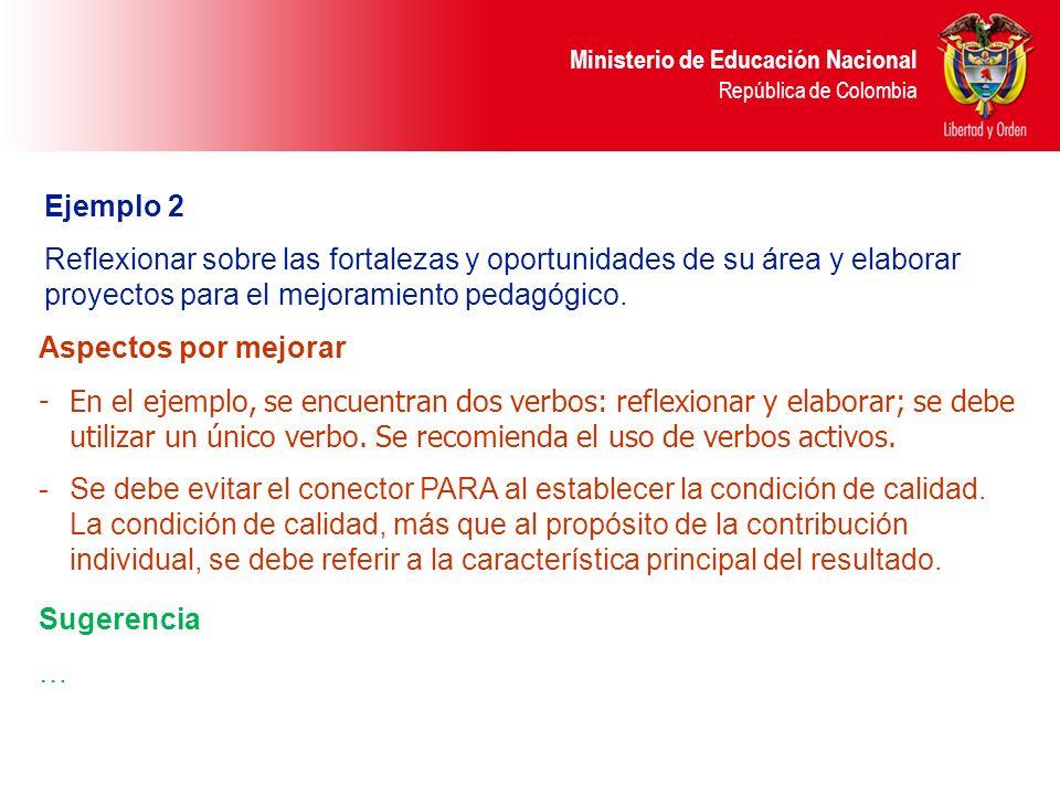 Ministerio de Educación Nacional República de Colombia Ejemplo 2 Reflexionar sobre las fortalezas y oportunidades de su área y elaborar proyectos para