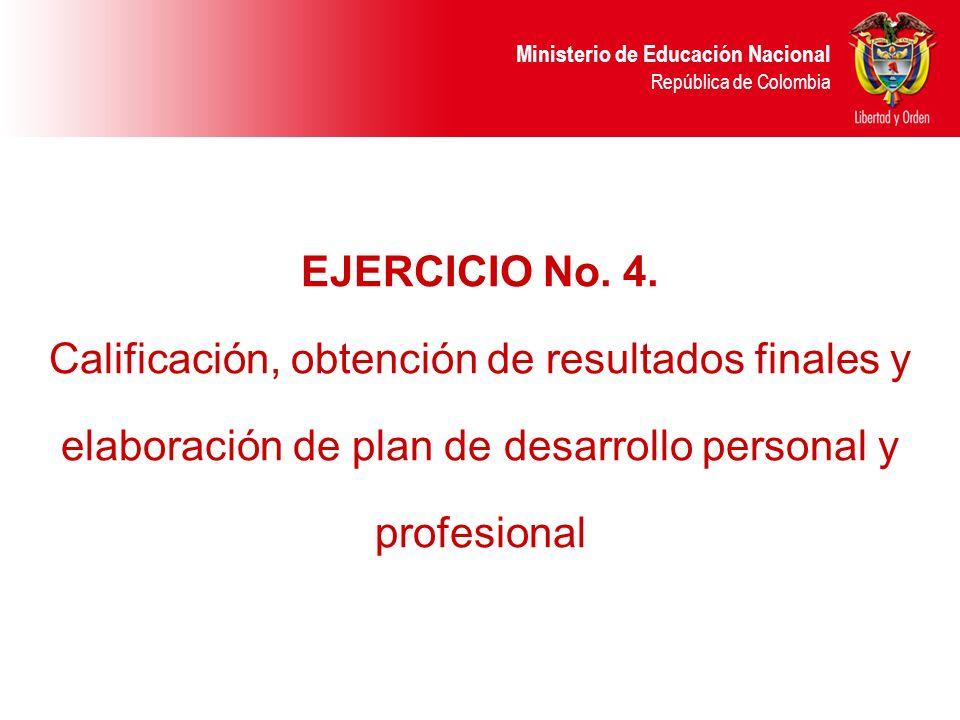 EJERCICIO No. 4. Calificación, obtención de resultados finales y elaboración de plan de desarrollo personal y profesional