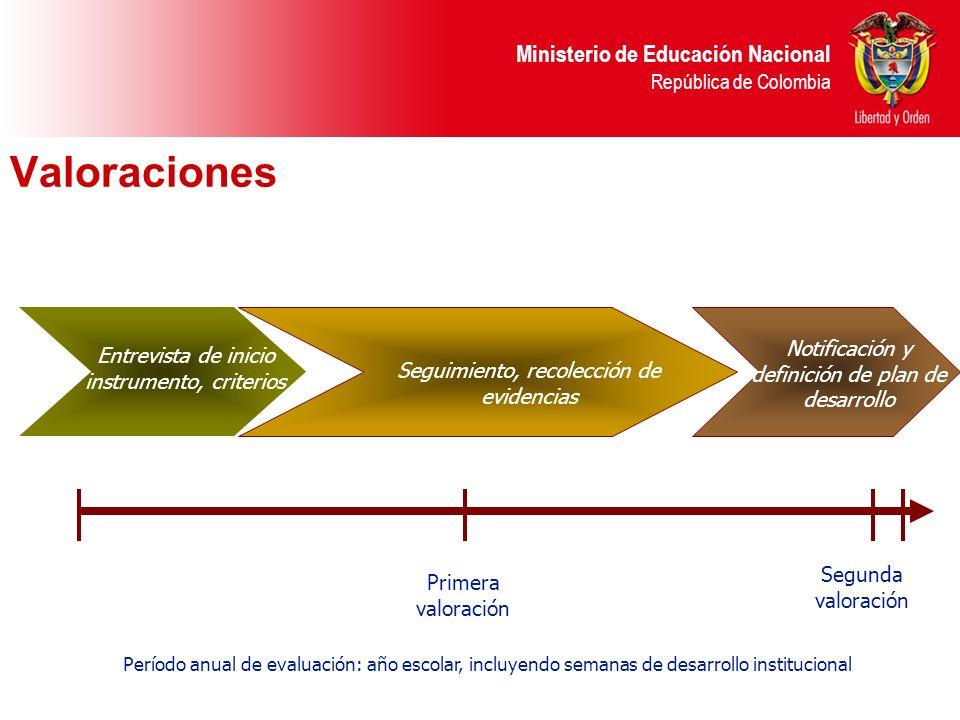 Ministerio de Educación Nacional República de Colombia Valoraciones Período anual de evaluación: año escolar, incluyendo semanas de desarrollo institu