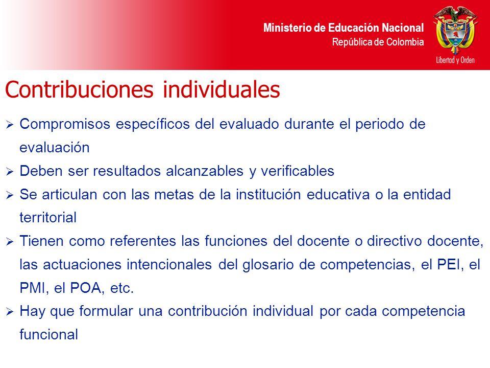 Ministerio de Educación Nacional República de Colombia Contribuciones individuales Compromisos específicos del evaluado durante el periodo de evaluaci