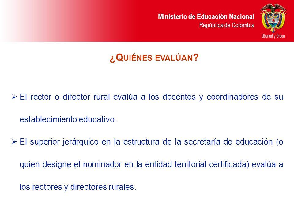Ministerio de Educación Nacional República de Colombia El rector o director rural evalúa a los docentes y coordinadores de su establecimiento educativ
