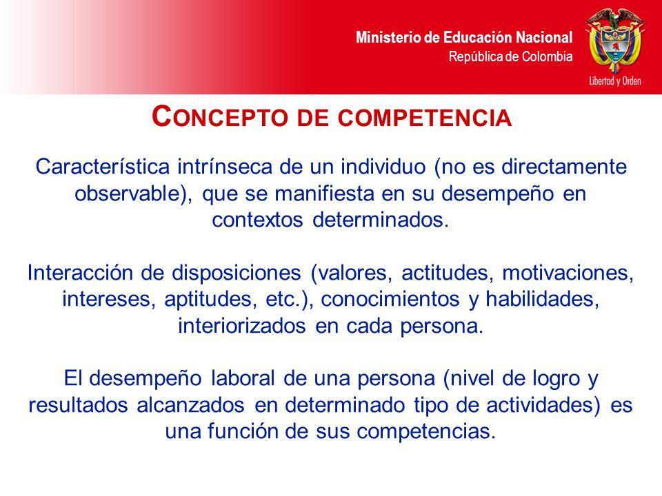 Ministerio de Educación Nacional República de Colombia Característica intrínseca de un individuo (no es directamente observable), que se manifiesta en