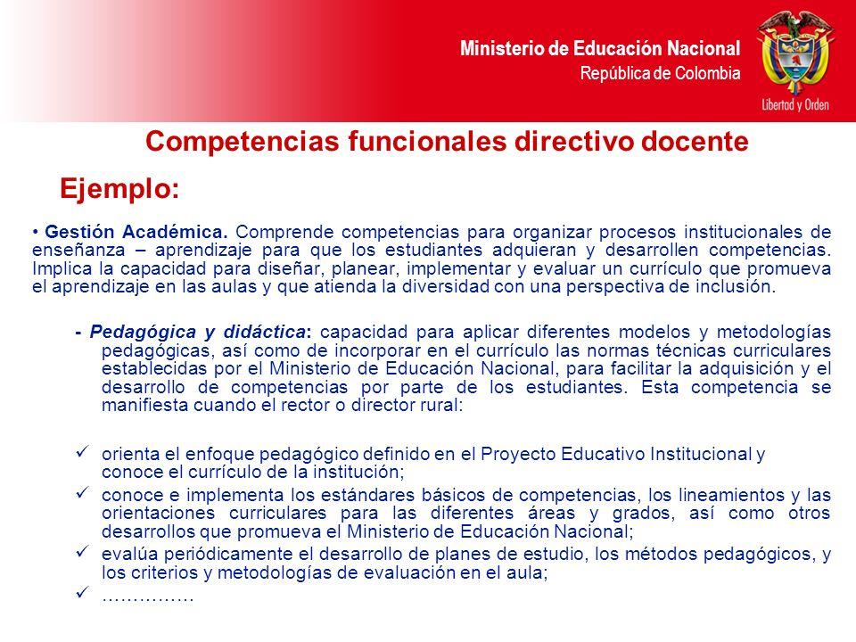 Ministerio de Educación Nacional República de Colombia Competencias funcionales directivo docente Ejemplo: Gestión Académica. Comprende competencias p