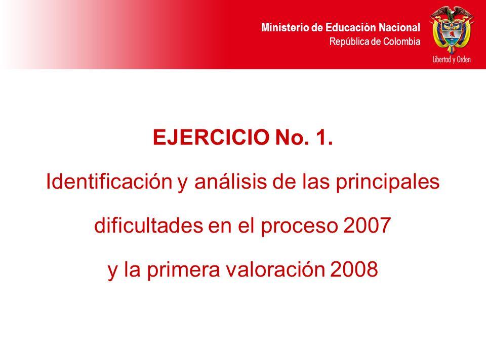 Ministerio de Educación Nacional República de Colombia EJERCICIO No. 1. Identificación y análisis de las principales dificultades en el proceso 2007 y