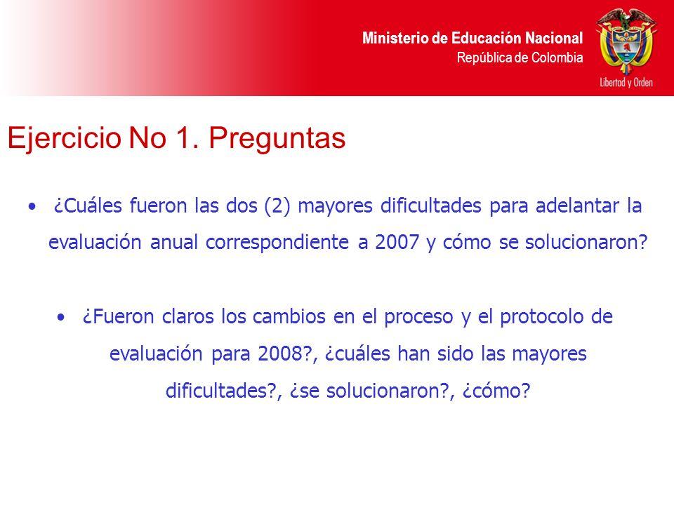 Ministerio de Educación Nacional República de Colombia ¿Cuáles fueron las dos (2) mayores dificultades para adelantar la evaluación anual correspondie