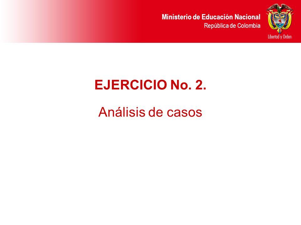 Ministerio de Educación Nacional República de Colombia EJERCICIO No. 2. Análisis de casos